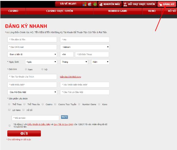 đăng ký tài khoản 12bet